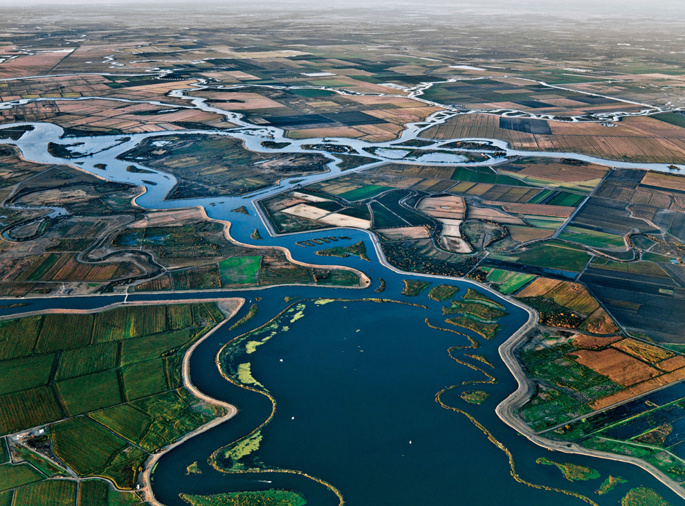 Part of the Sacramento-San Joaquin Delta, as captured by Edward Burtynsky for National Geographic, 2010.